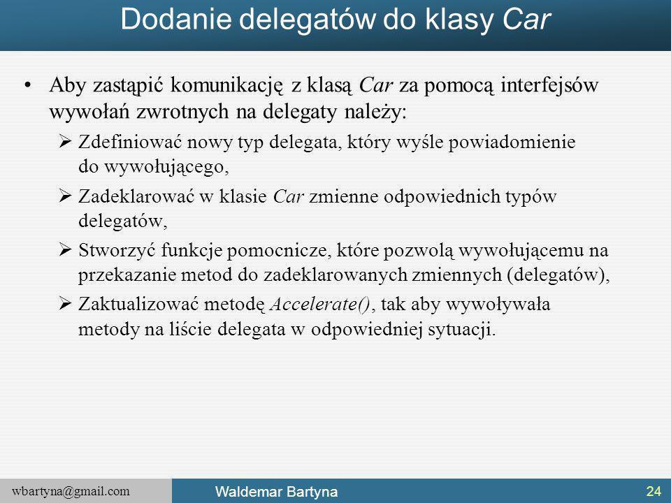 Dodanie delegatów do klasy Car