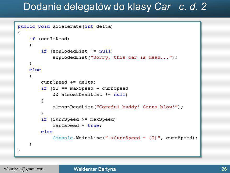 Dodanie delegatów do klasy Car c. d. 2