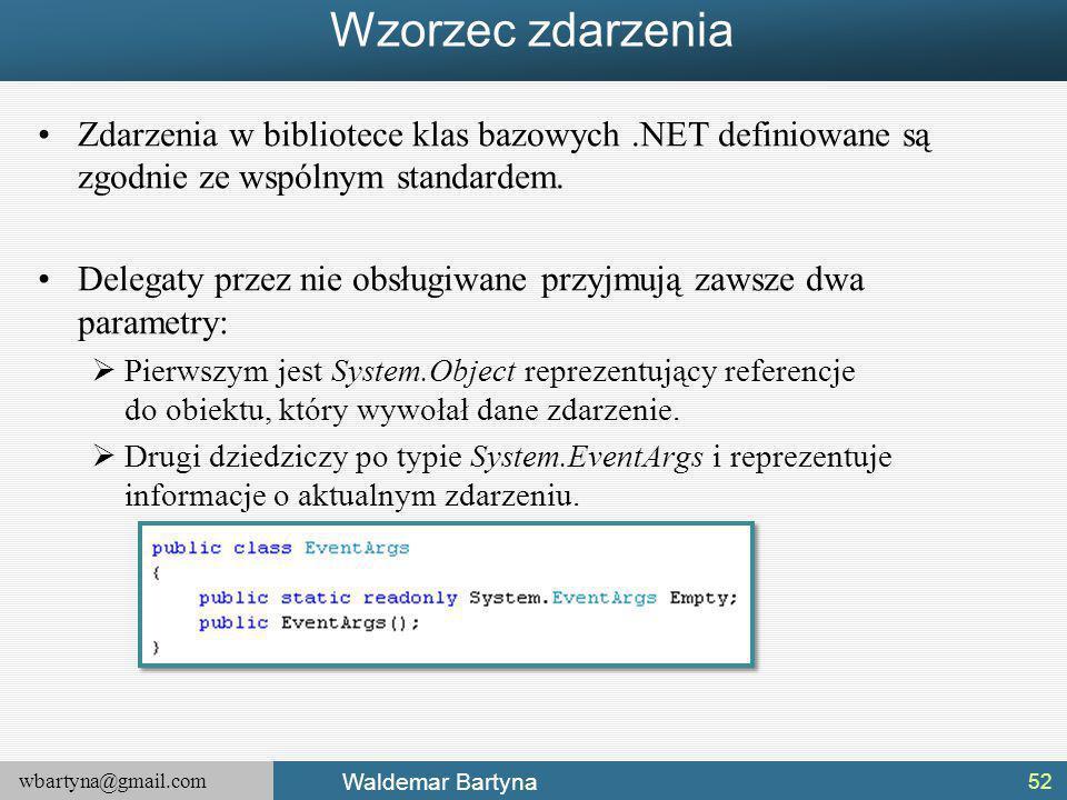 Wzorzec zdarzenia Zdarzenia w bibliotece klas bazowych .NET definiowane są zgodnie ze wspólnym standardem.
