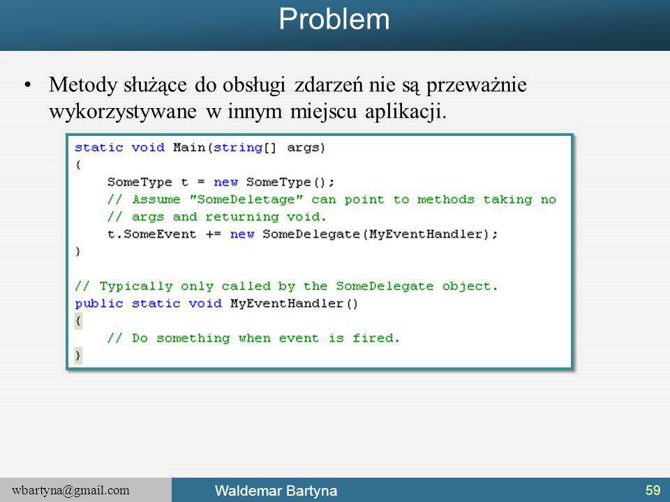 Problem Metody służące do obsługi zdarzeń nie są przeważnie wykorzystywane w innym miejscu aplikacji.
