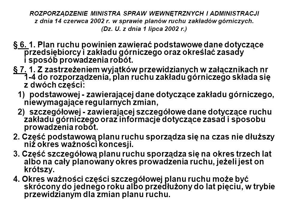 ROZPORZĄDZENIE MINISTRA SPRAW WEWNĘTRZNYCH I ADMINISTRACJI z dnia 14 czerwca 2002 r. w sprawie planów ruchu zakładów górniczych. (Dz. U. z dnia 1 lipca 2002 r.)