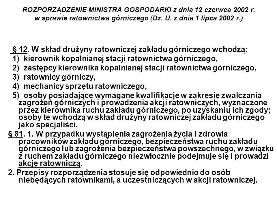 § 12. W skład drużyny ratowniczej zakładu górniczego wchodzą: