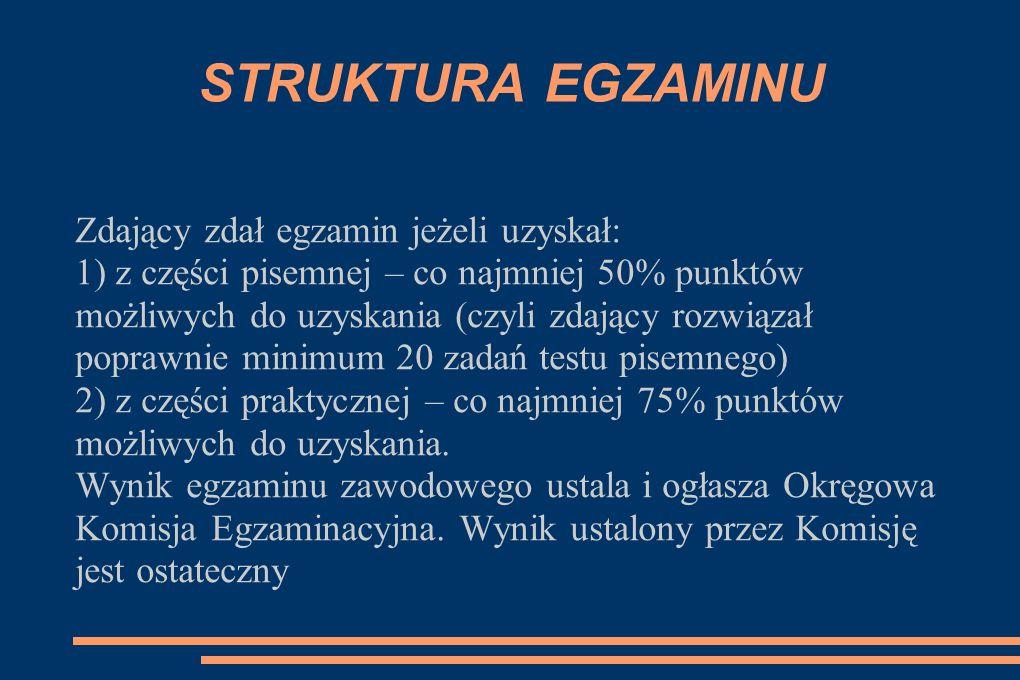 STRUKTURA EGZAMINU Zdający zdał egzamin jeżeli uzyskał: