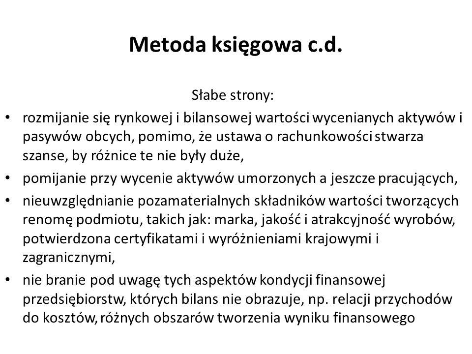 Metoda księgowa c.d. Słabe strony: