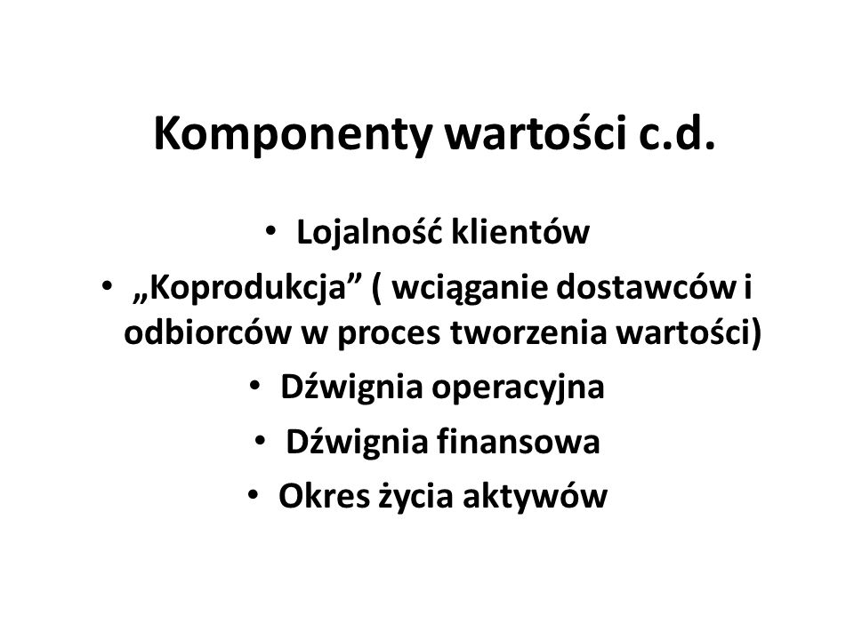 Komponenty wartości c.d.