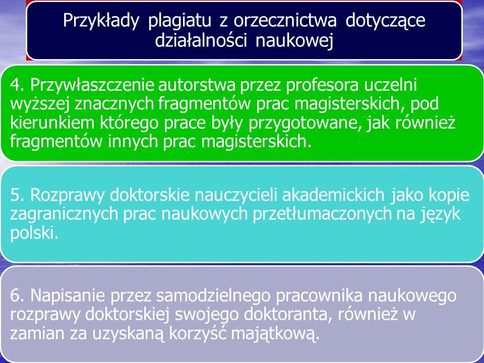 Przykłady plagiatu z orzecznictwa dotyczące działalności naukowej
