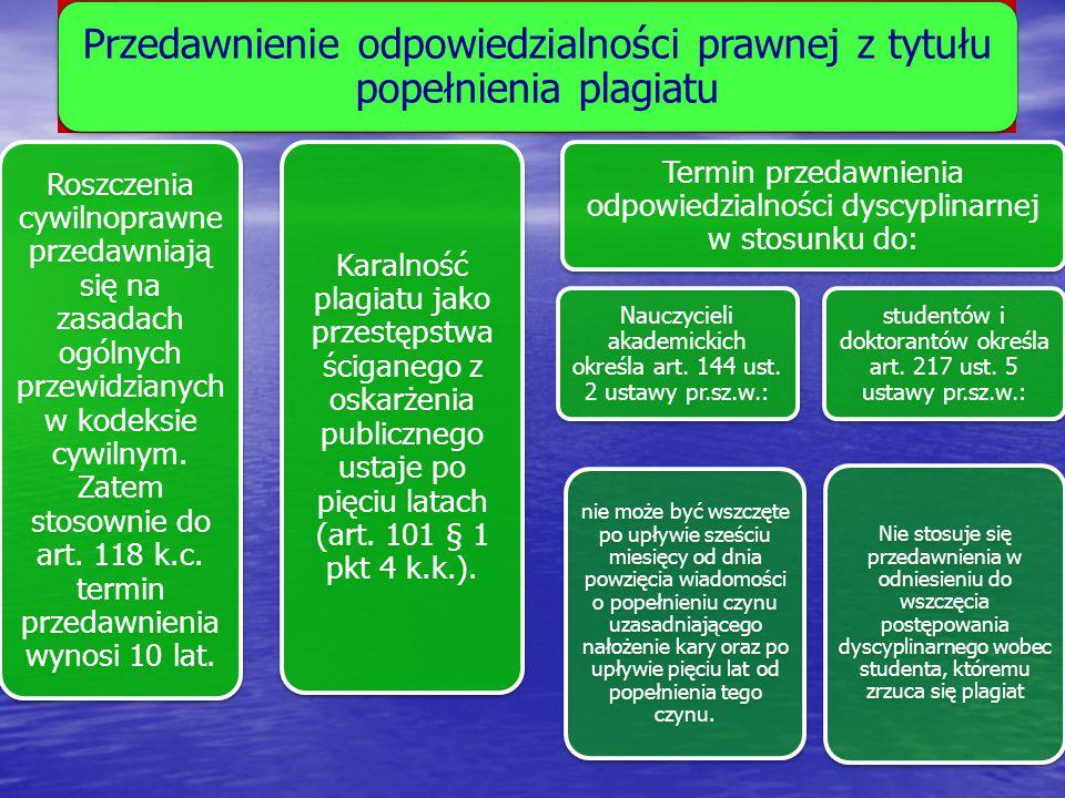 Przedawnienie odpowiedzialności prawnej z tytułu popełnienia plagiatu