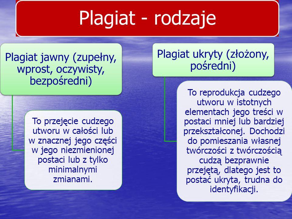 Plagiat - rodzaje Plagiat ukryty (złożony, pośredni)