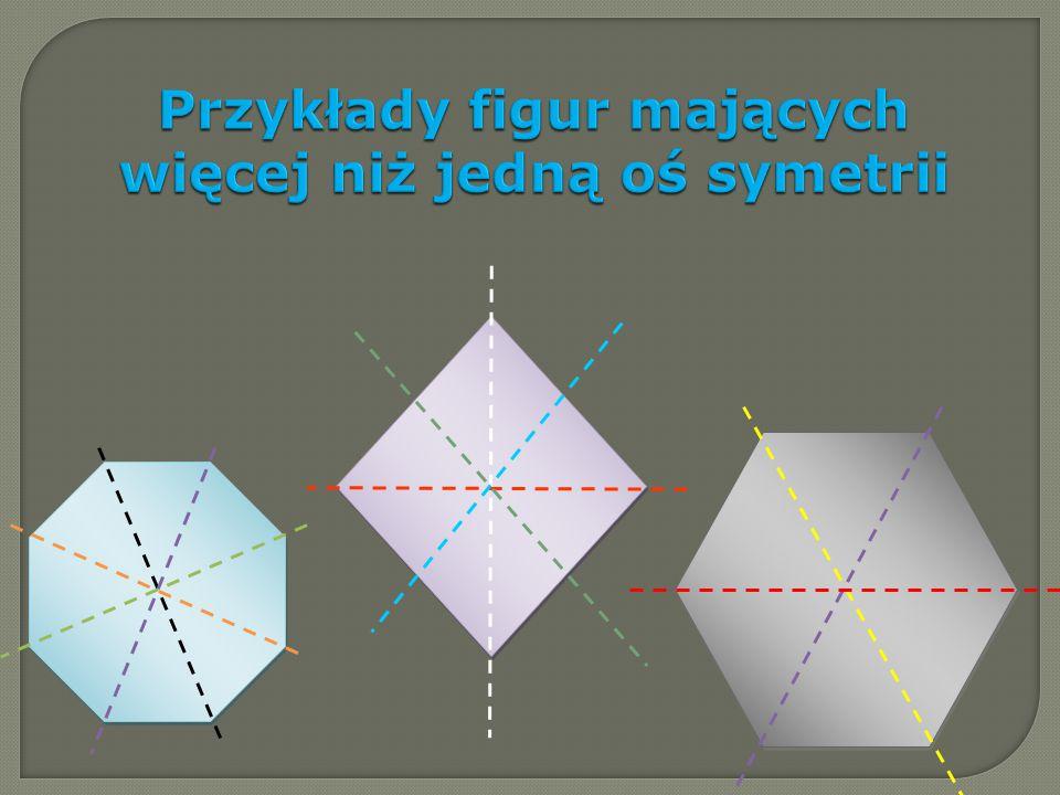 Przykłady figur mających więcej niż jedną oś symetrii