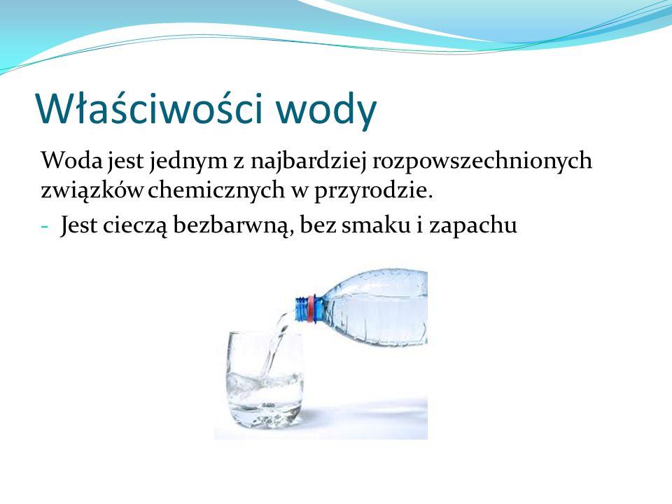 Właściwości wody Woda jest jednym z najbardziej rozpowszechnionych związków chemicznych w przyrodzie.