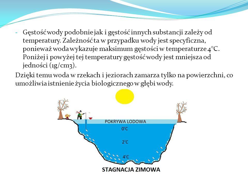 Gęstość wody podobnie jak i gęstość innych substancji zależy od temperatury. Zależność ta w przypadku wody jest specyficzna, ponieważ woda wykazuje maksimum gęstości w temperaturze 4°C. Poniżej i powyżej tej temperatury gęstość wody jest mniejsza od jedności (1g/cm3).