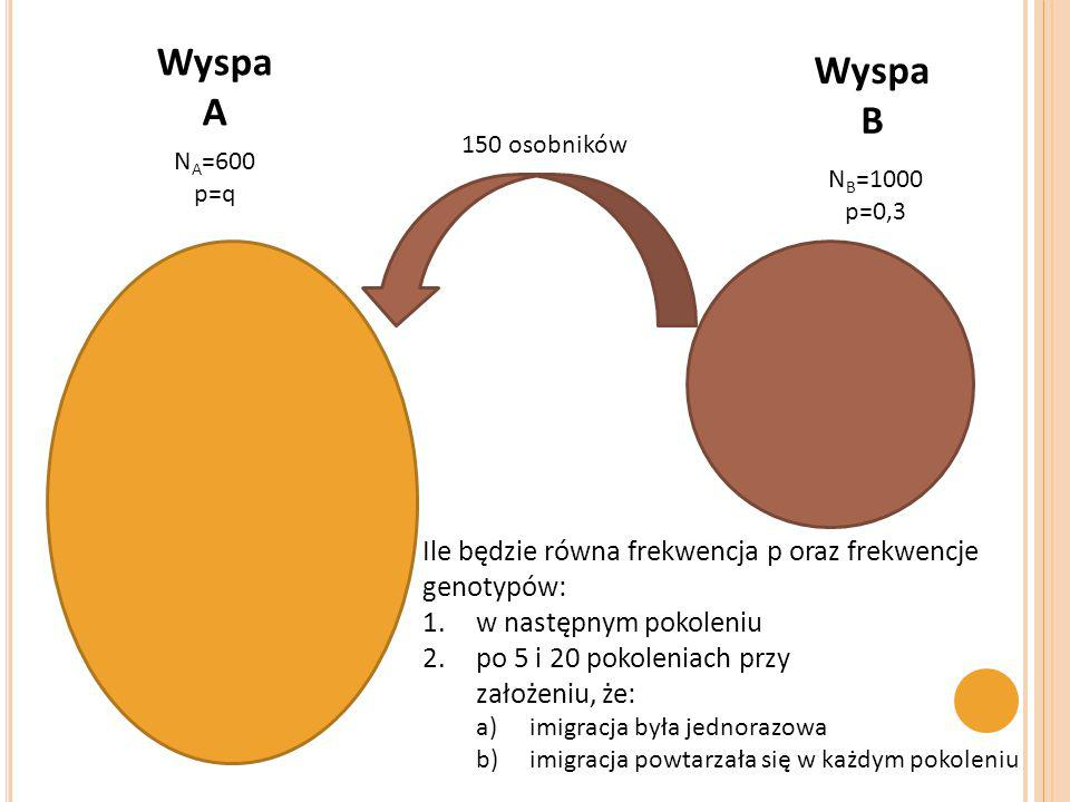 Wyspa A. Wyspa. B. 150 osobników. NA=600. p=q. NB=1000. p=0,3. Ile będzie równa frekwencja p oraz frekwencje genotypów: