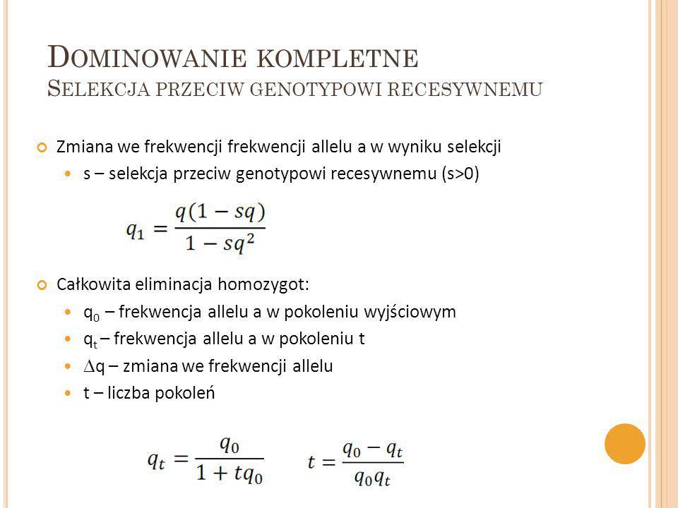Dominowanie kompletne Selekcja przeciw genotypowi recesywnemu