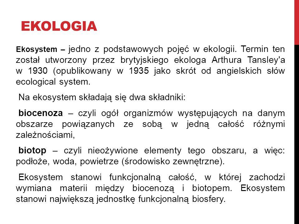 ekologia Na ekosystem składają się dwa składniki: