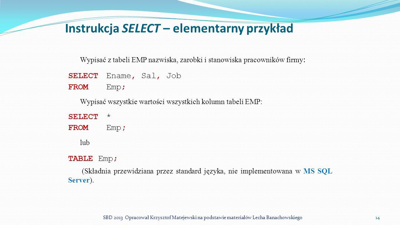 Instrukcja SELECT – elementarny przykład