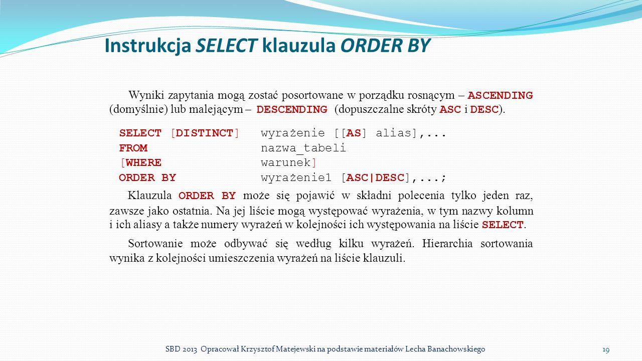 Instrukcja SELECT klauzula ORDER BY