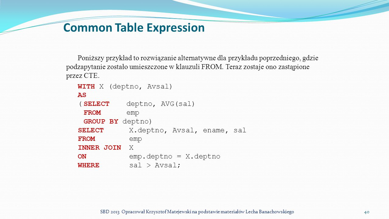 Common Table Expression