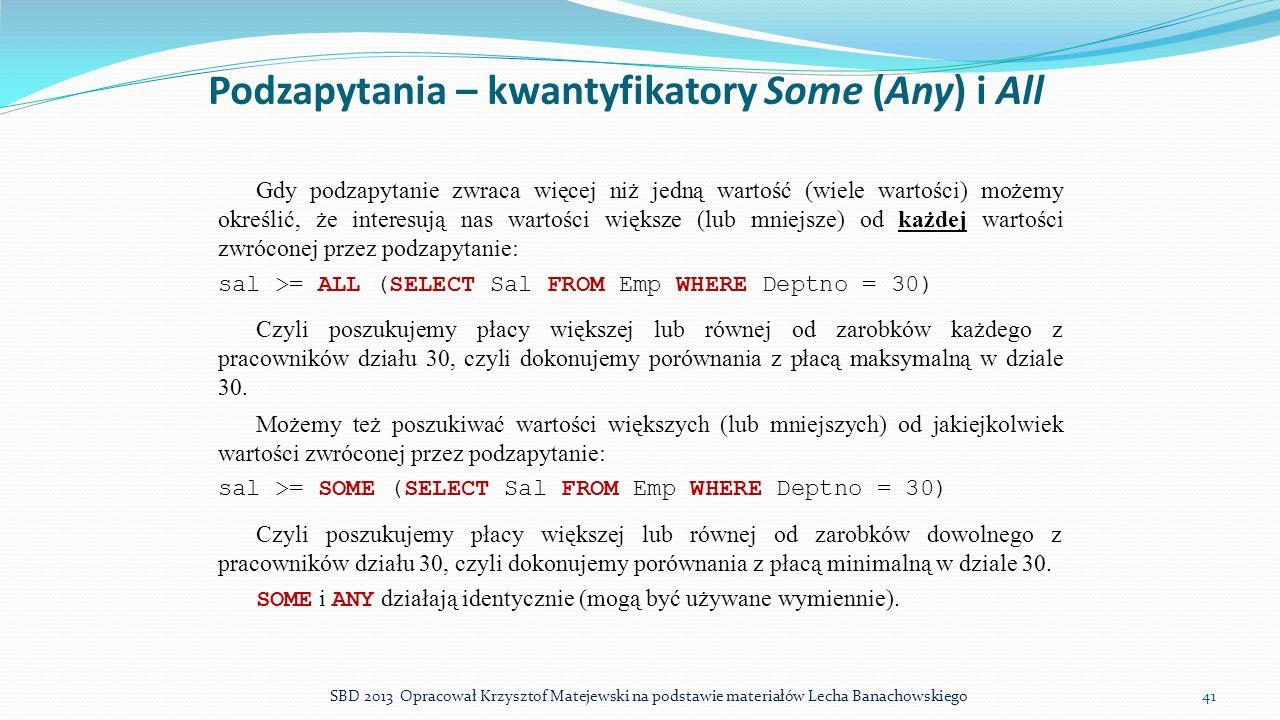 Podzapytania – kwantyfikatory Some (Any) i All
