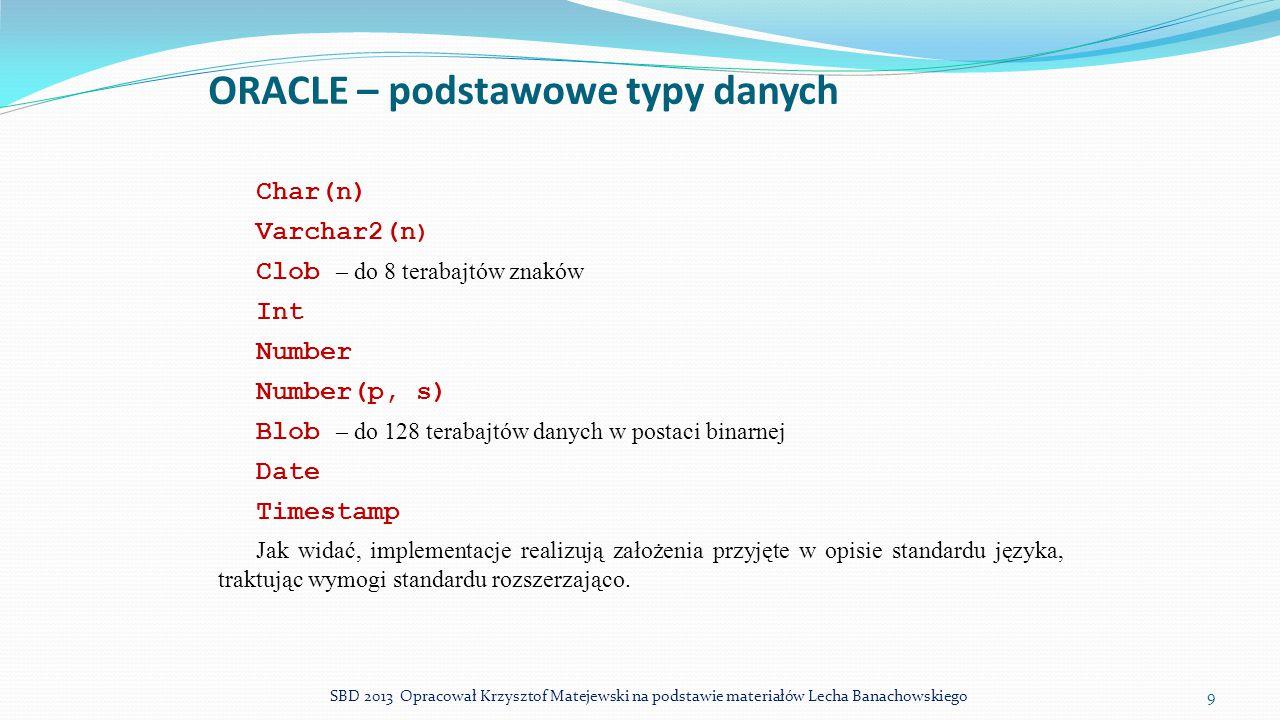 ORACLE – podstawowe typy danych