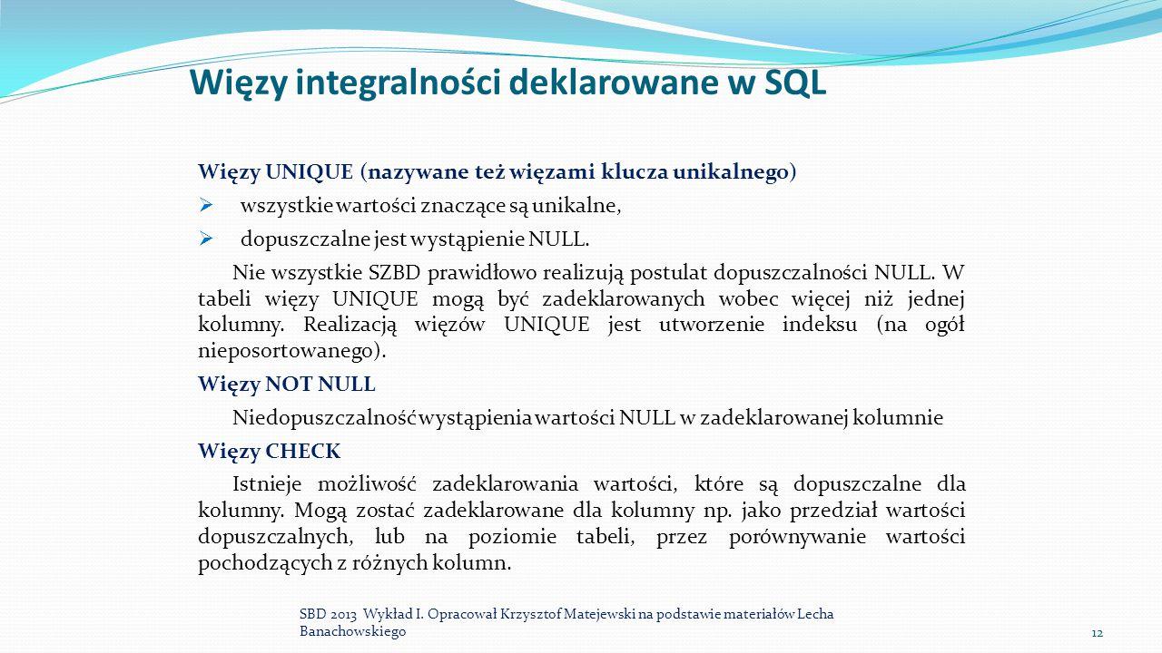Więzy integralności deklarowane w SQL