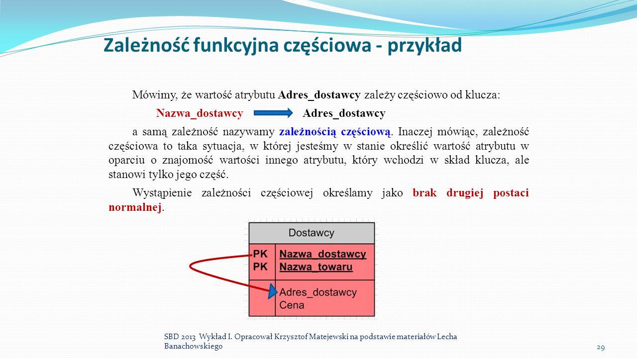 Zależność funkcyjna częściowa - przykład