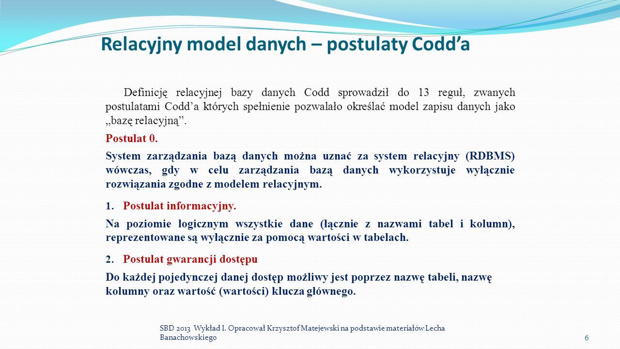 Relacyjny model danych – postulaty Codd'a
