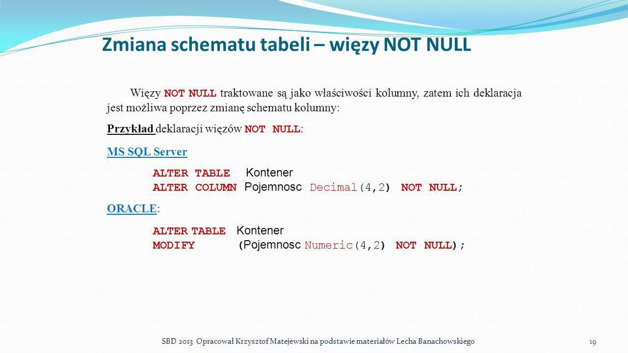 Zmiana schematu tabeli – więzy NOT NULL