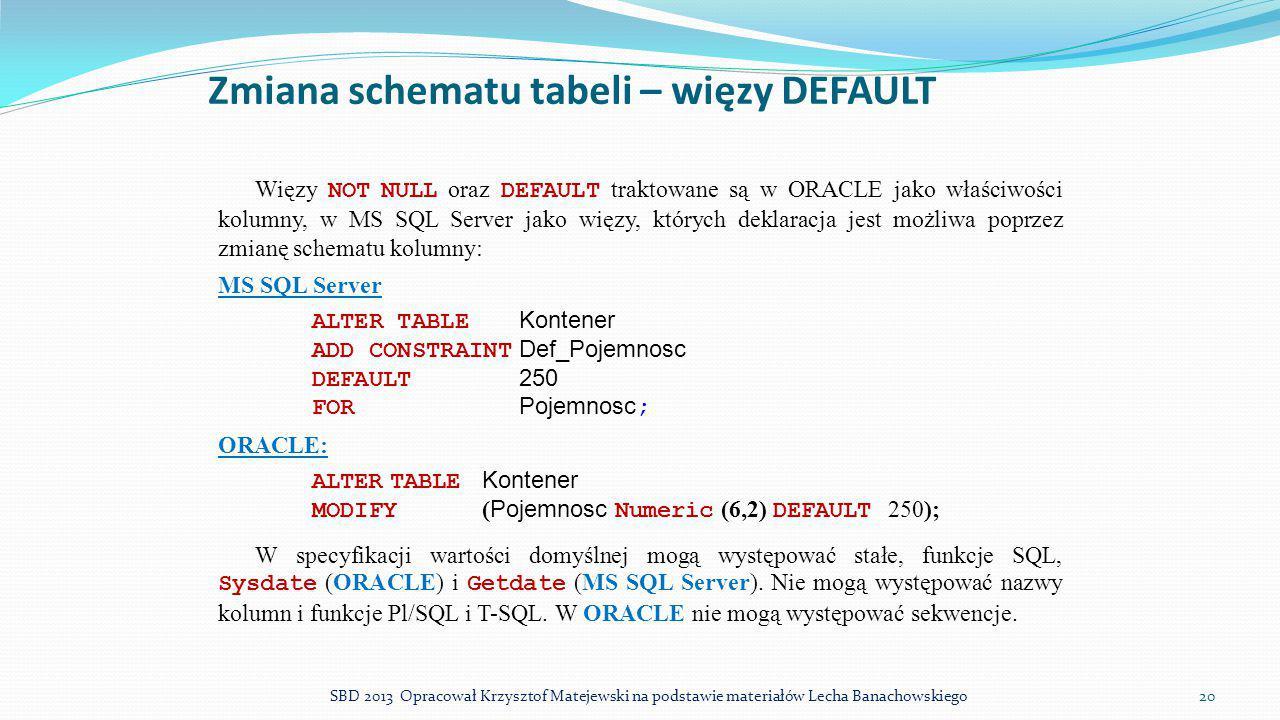 Zmiana schematu tabeli – więzy DEFAULT
