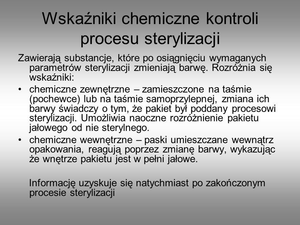 Wskaźniki chemiczne kontroli procesu sterylizacji