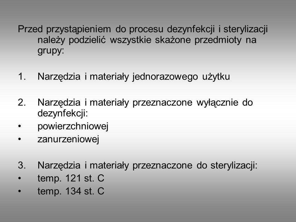 Przed przystąpieniem do procesu dezynfekcji i sterylizacji należy podzielić wszystkie skażone przedmioty na grupy: