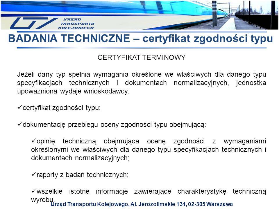 BADANIA TECHNICZNE – certyfikat zgodności typu