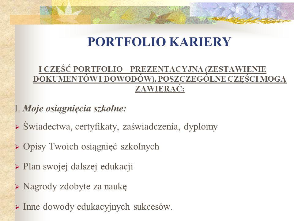 PORTFOLIO KARIERY I. Moje osiągnięcia szkolne: