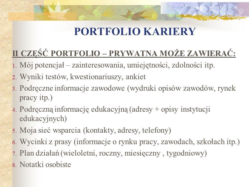 PORTFOLIO KARIERY II CZĘŚĆ PORTFOLIO – PRYWATNA MOŻE ZAWIERAĆ:
