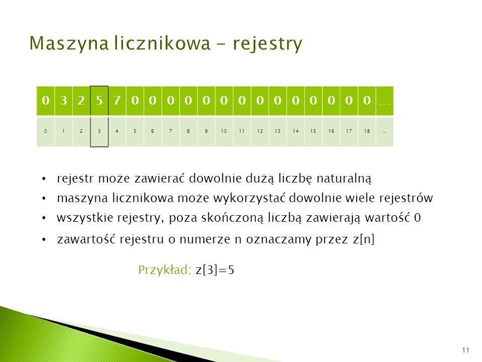 Maszyna licznikowa - rejestry