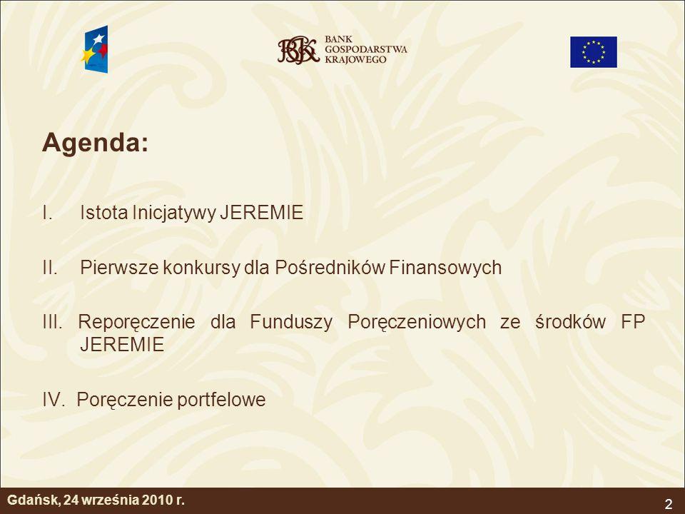 Agenda: Istota Inicjatywy JEREMIE