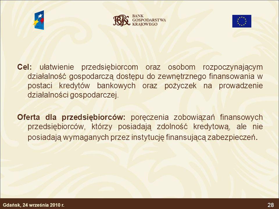 Cel: ułatwienie przedsiębiorcom oraz osobom rozpoczynającym działalność gospodarczą dostępu do zewnętrznego finansowania w postaci kredytów bankowych oraz pożyczek na prowadzenie działalności gospodarczej.