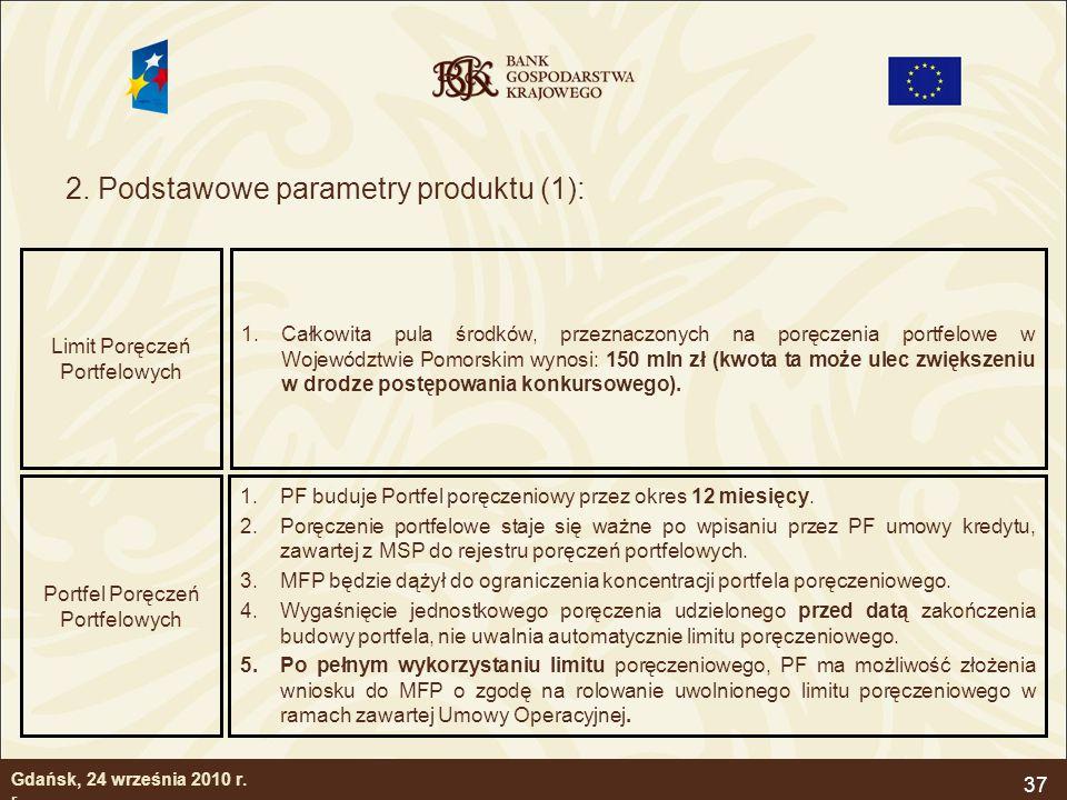2. Podstawowe parametry produktu (1):