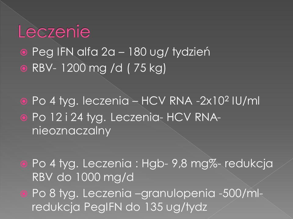 Leczenie Peg IFN alfa 2a – 180 ug/ tydzień RBV- 1200 mg /d ( 75 kg)
