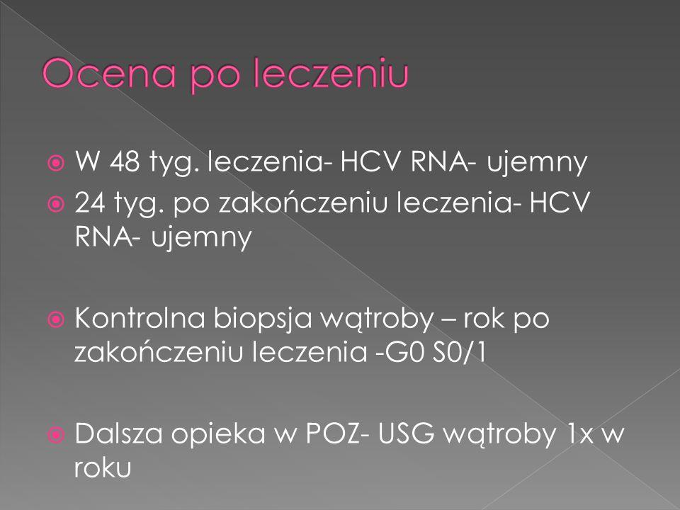 Ocena po leczeniu W 48 tyg. leczenia- HCV RNA- ujemny