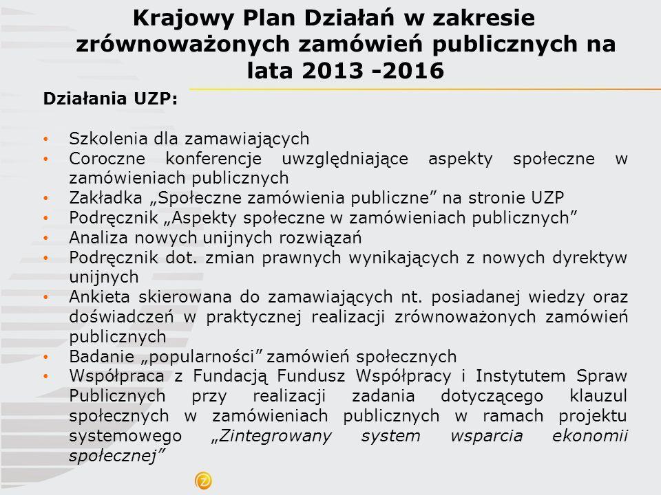 Krajowy Plan Działań w zakresie zrównoważonych zamówień publicznych na lata 2013 -2016