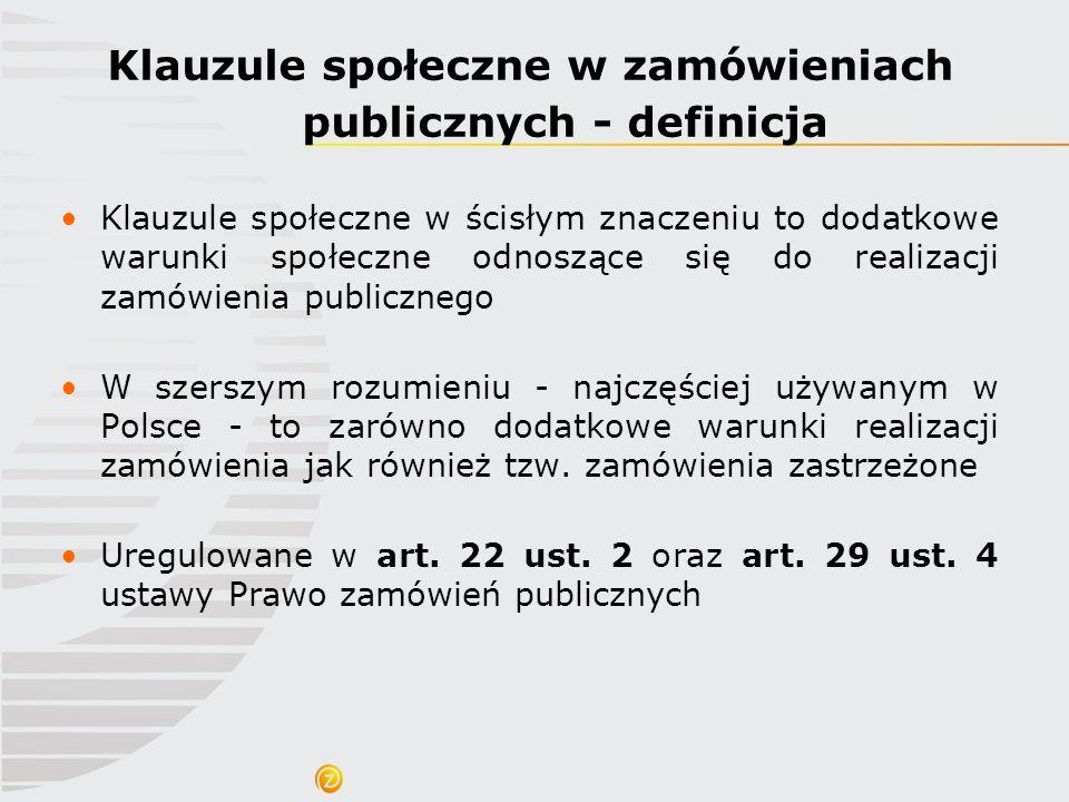 Klauzule społeczne w zamówieniach publicznych - definicja