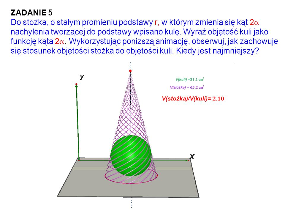 ZADANIE 5 Do stożka, o stałym promieniu podstawy r, w którym zmienia się kąt 2