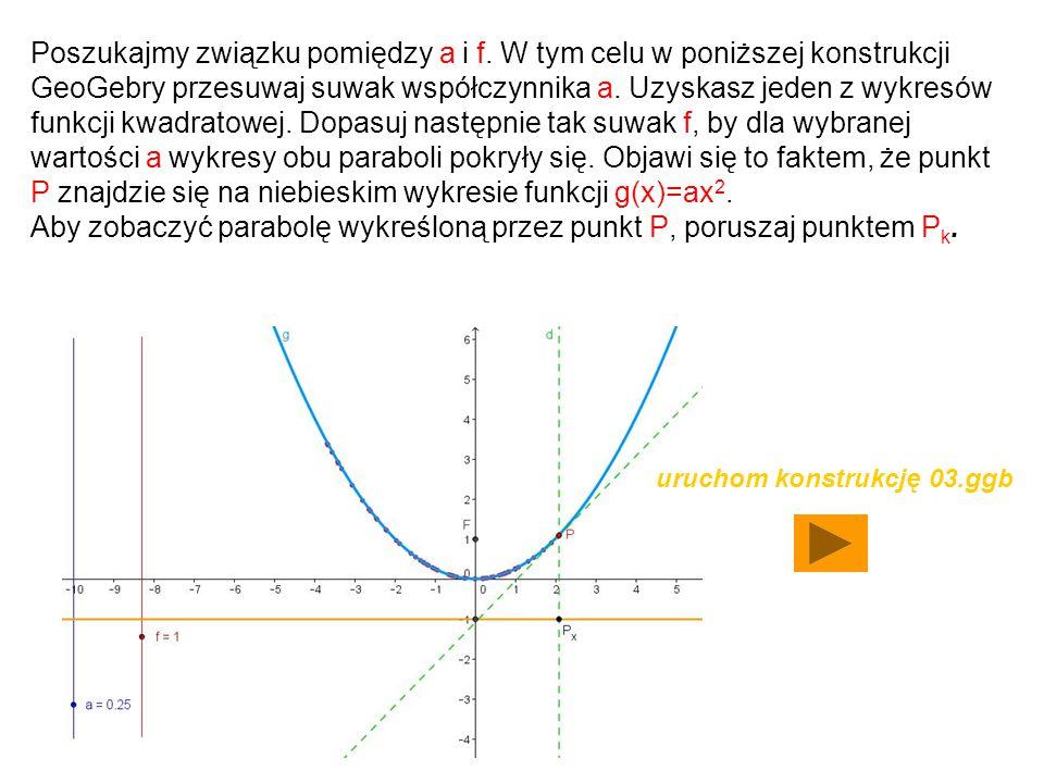 Aby zobaczyć parabolę wykreśloną przez punkt P, poruszaj punktem Pk.