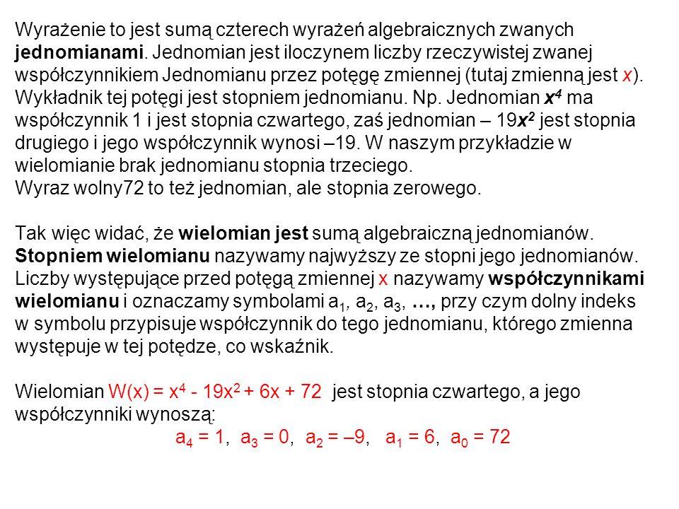 Wyrażenie to jest sumą czterech wyrażeń algebraicznych zwanych