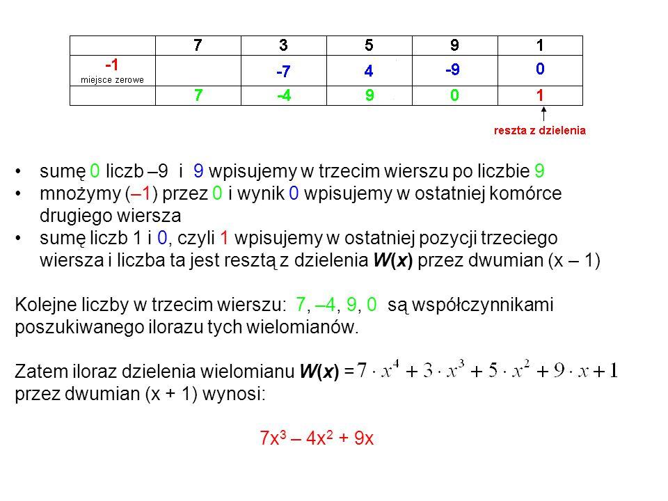 sumę 0 liczb –9 i 9 wpisujemy w trzecim wierszu po liczbie 9