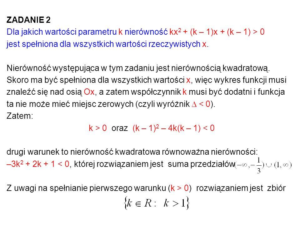 k > 0 oraz (k – 1)2 – 4k(k – 1) < 0