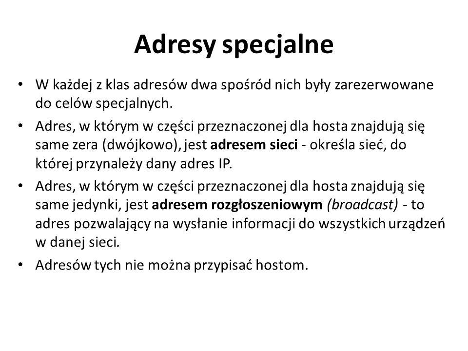 Adresy specjalne W każdej z klas adresów dwa spośród nich były zarezerwowane do celów specjalnych.