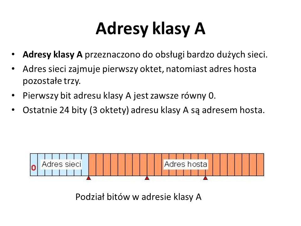 Adresy klasy A Adresy klasy A przeznaczono do obsługi bardzo dużych sieci. Adres sieci zajmuje pierwszy oktet, natomiast adres hosta pozostałe trzy.
