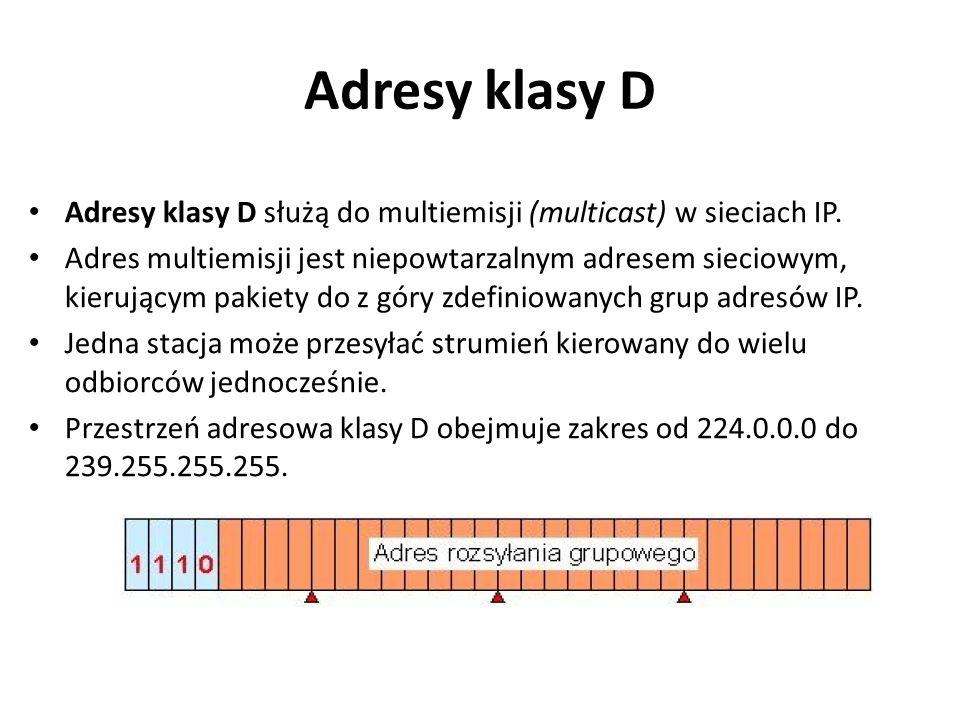 Adresy klasy D Adresy klasy D służą do multiemisji (multicast) w sieciach IP.