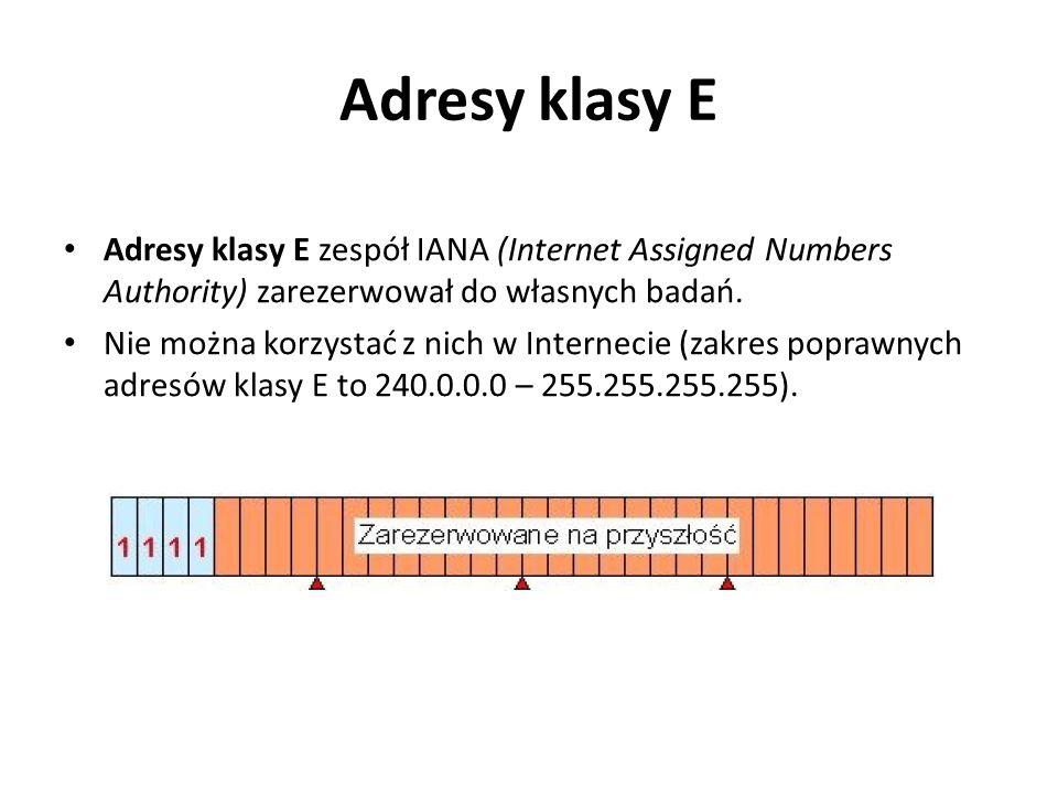 Adresy klasy E Adresy klasy E zespół IANA (Internet Assigned Numbers Authority) zarezerwował do własnych badań.